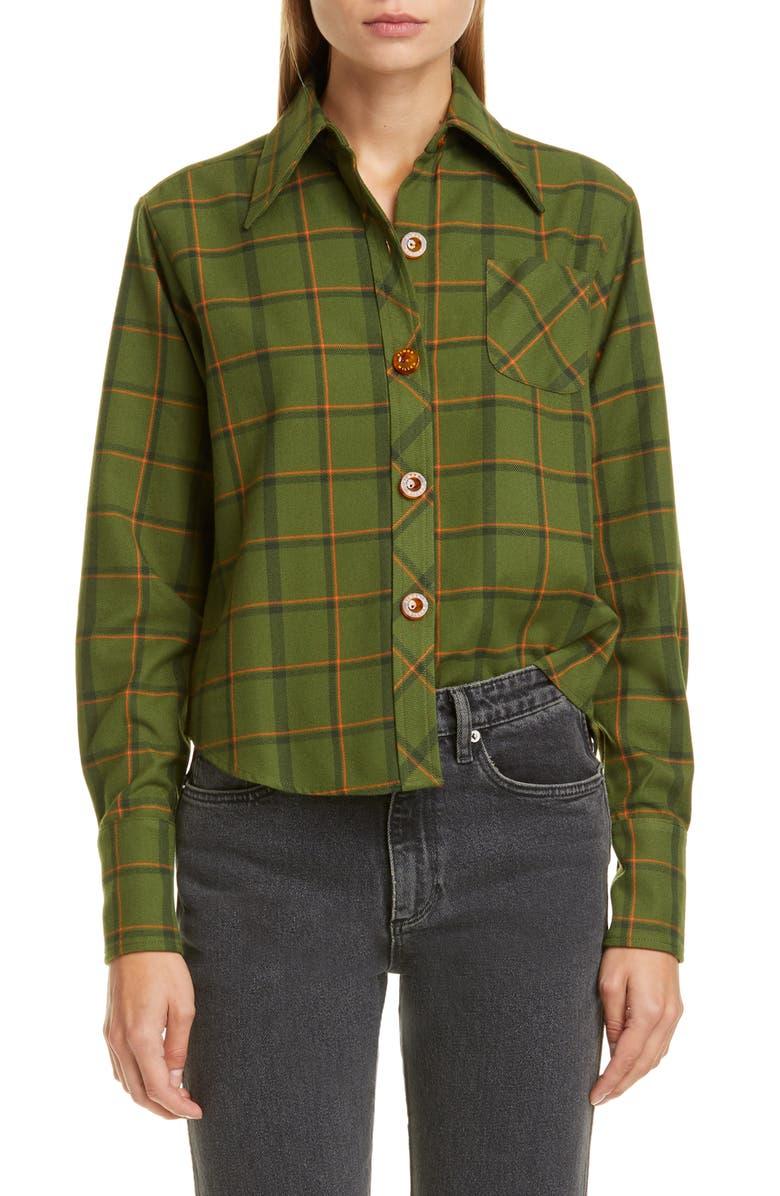 SIMON MILLER Wika Button Front Shirt, Main, color, FOREST PLAID