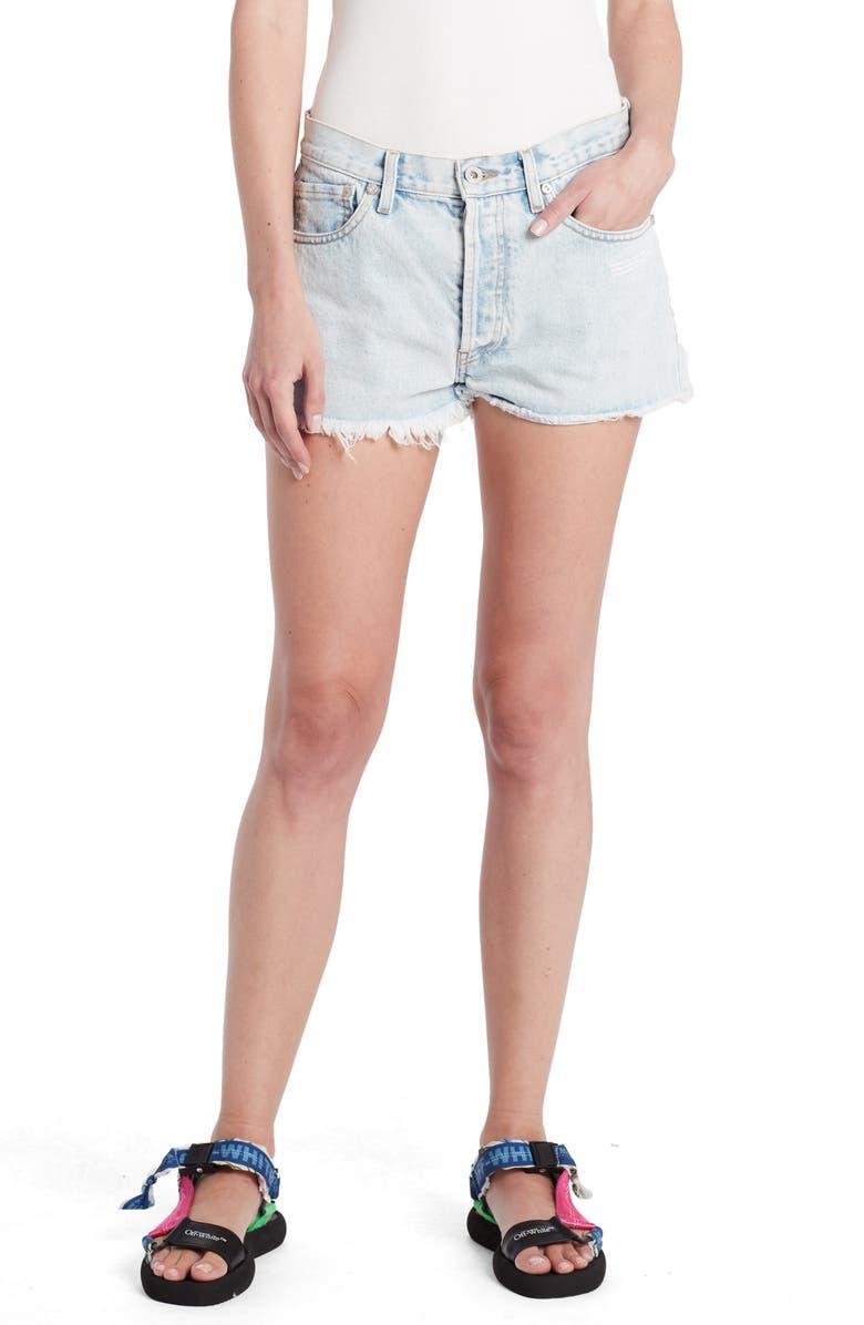 OFF-WHITE Cutoff Denim Shorts, Main, color, 400