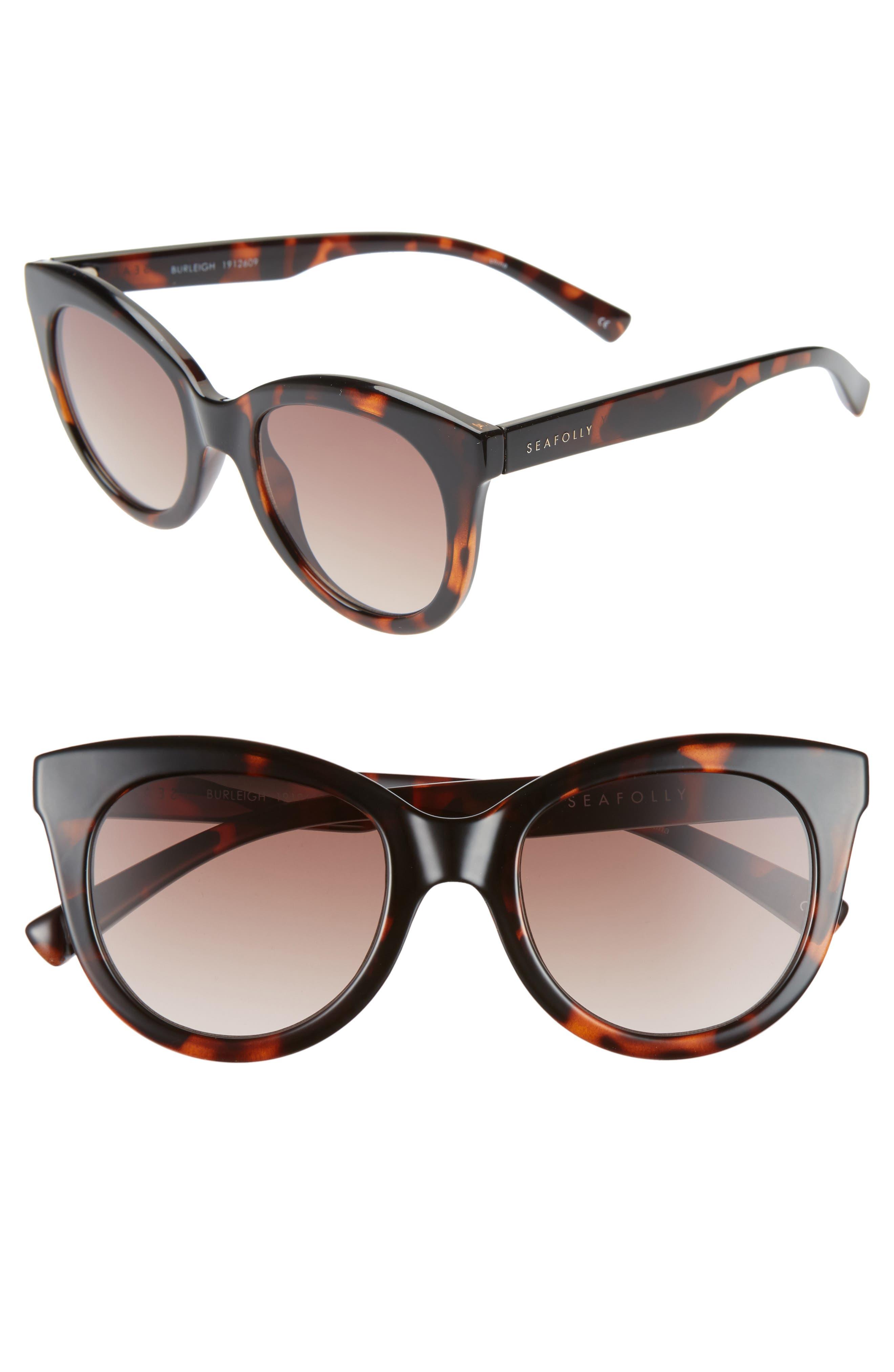 Seafolly Burleigh 50Mm Cat Eye Sunglasses - Dark Tortoise/ Brown Gradient