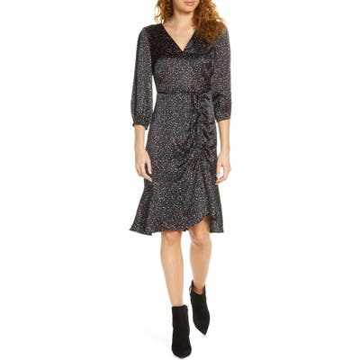 Sam Edelman Colorful Dot Ruched Dress, Black