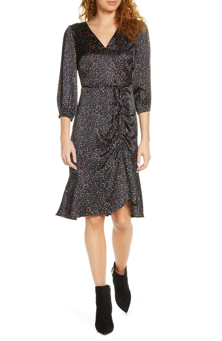 SAM EDELMAN Colorful Dot Ruched Dress, Main, color, BLACK MULTI