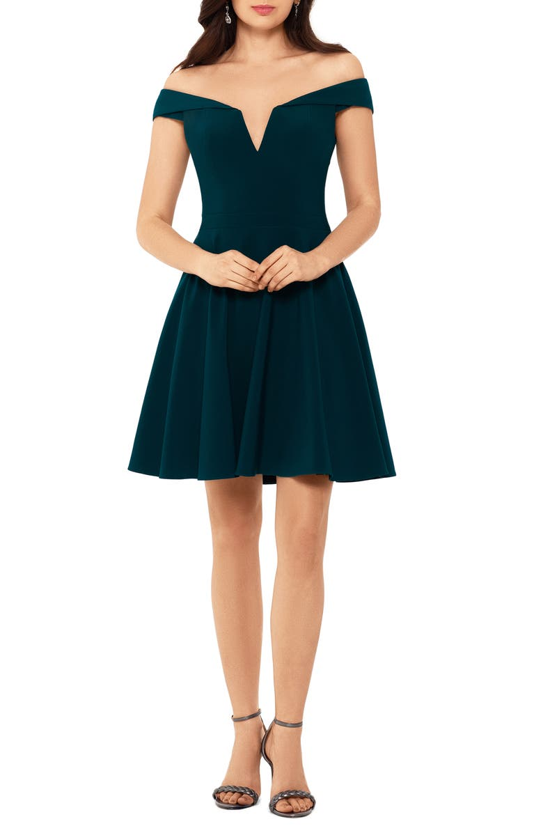 XSCAPE Off the Shoulder Skater Dress, Main, color, NEO EMERALD