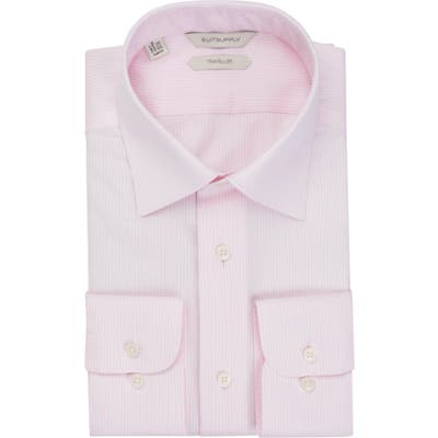 Suitsupply Traveler Slim Fit Pinstripe Button-Up Dress Shirt, Pink