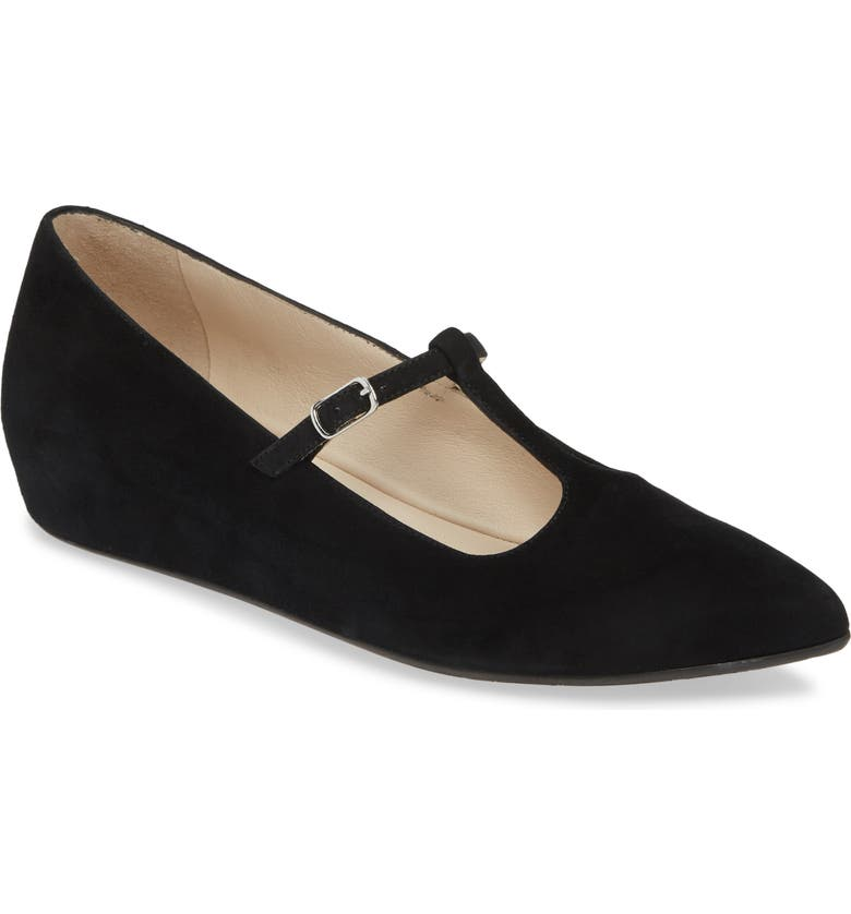 AMALFI BY RANGONI Assissi T-Strap Mary Jane Wedge, Main, color, BLACK SUEDE