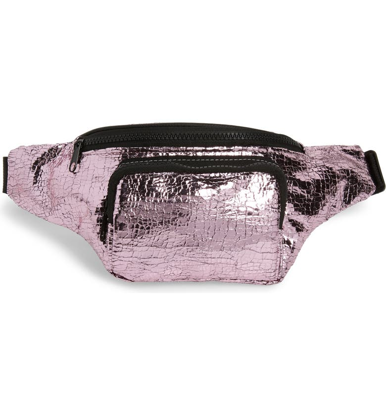 JANE & BERRY Cracked Metallic Faux Leather Belt Bag, Main, color, 650