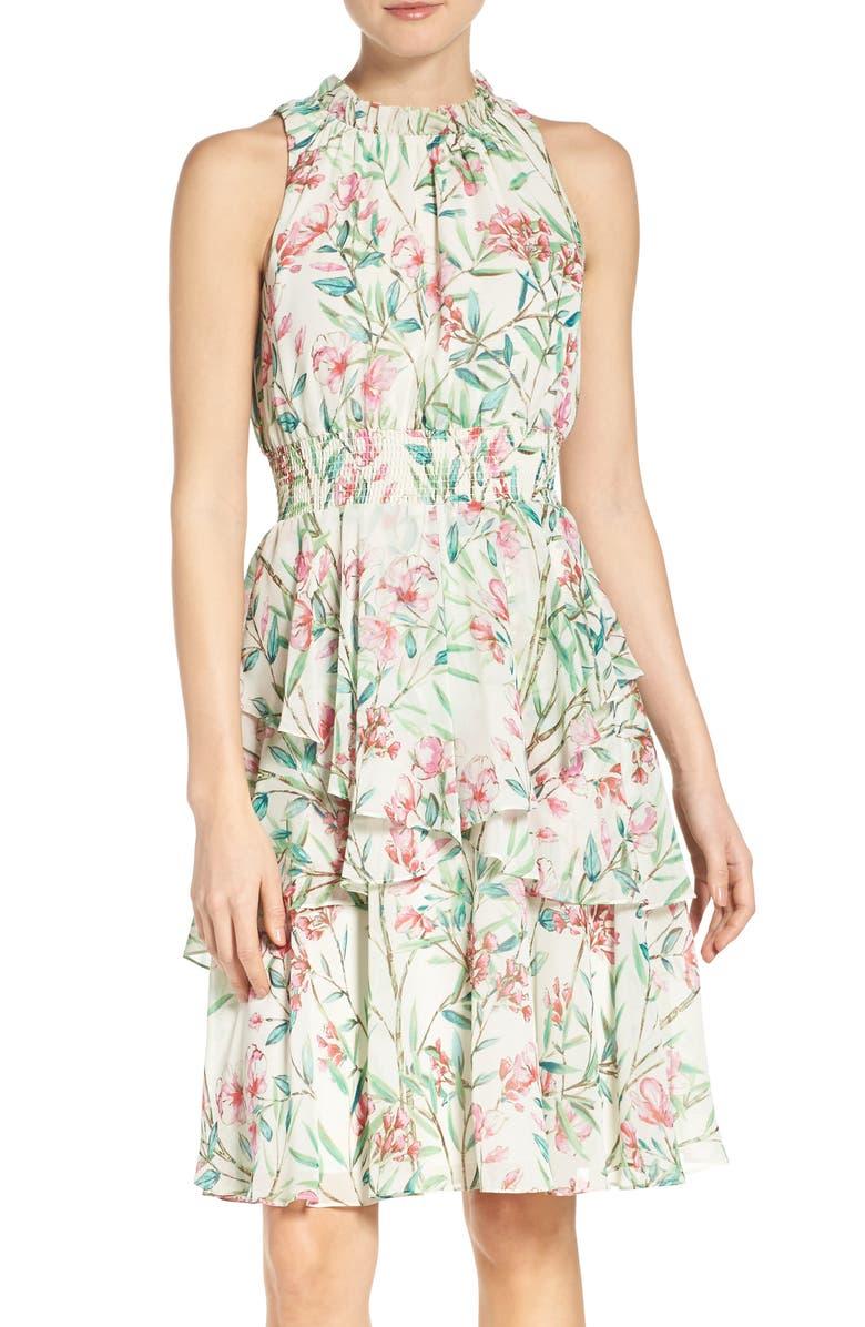 ELIZA J Chiffon Fit & Flare Dress, Main, color, 901
