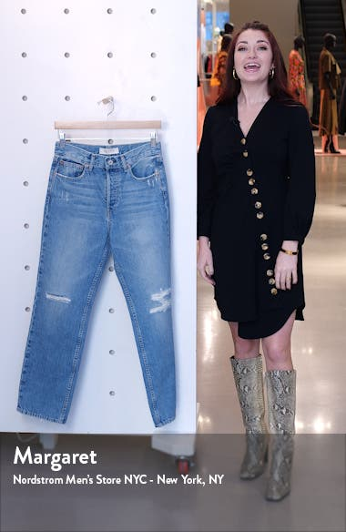 Riley '90s Ripped High Waist Ankle Straight Leg Jeans, sales video thumbnail