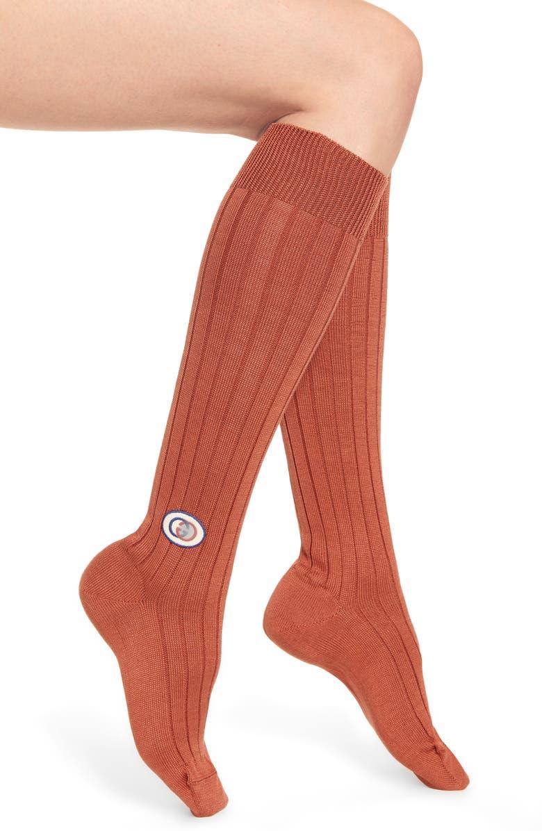 GUCCI Logo Patch Knee High Socks, Main, color, SIENNA