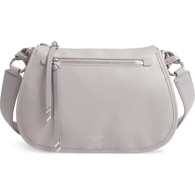 Ted Baker London Heatherr Curved Leather Crossbody Bag - Grey