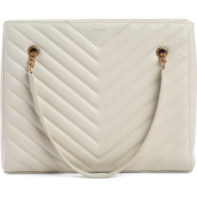 Saint Laurent Medium Tribeca Quilted Calfskin Leather Tote - White