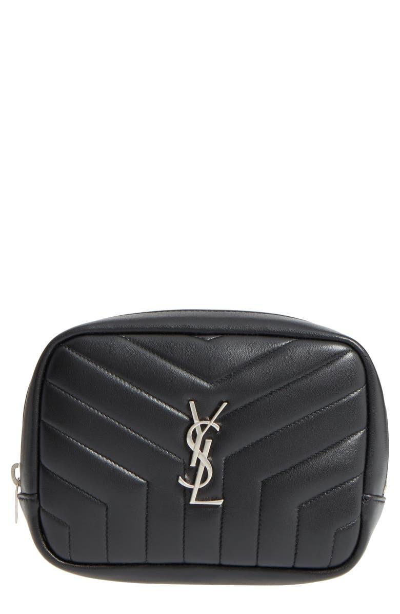 SAINT LAURENT Loulou Matelassé Leather Cosmetics Bag, Main, color, 001