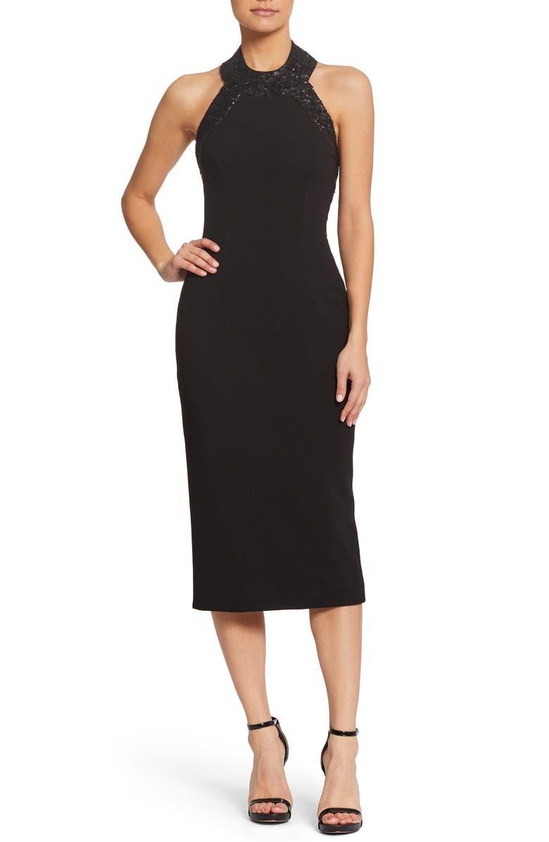 DRESS THE POPULATION Cleo Halter Dress, Main, color, 002