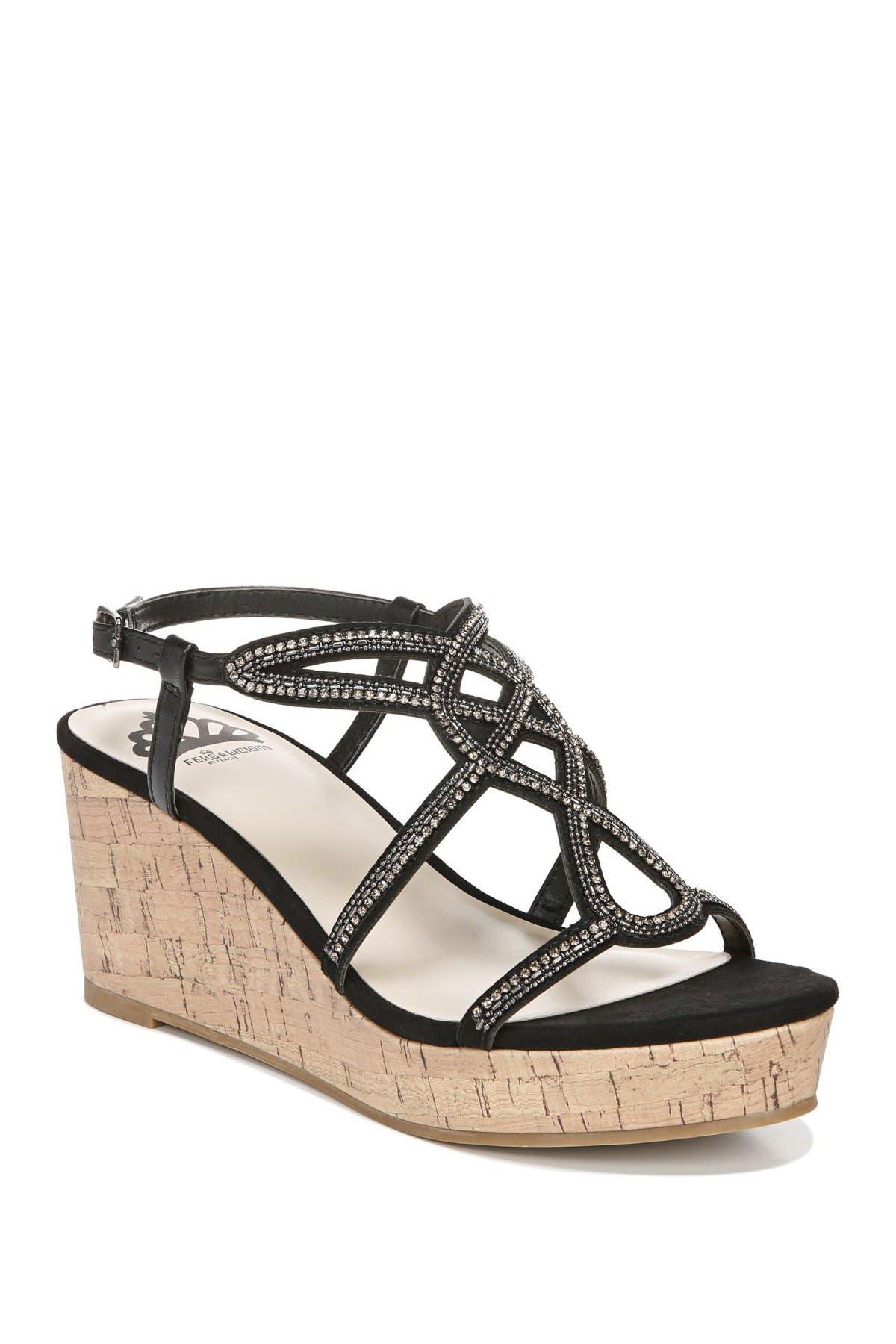 Image of Fergalicious Mimic Embellished Platform Wedge Sandal