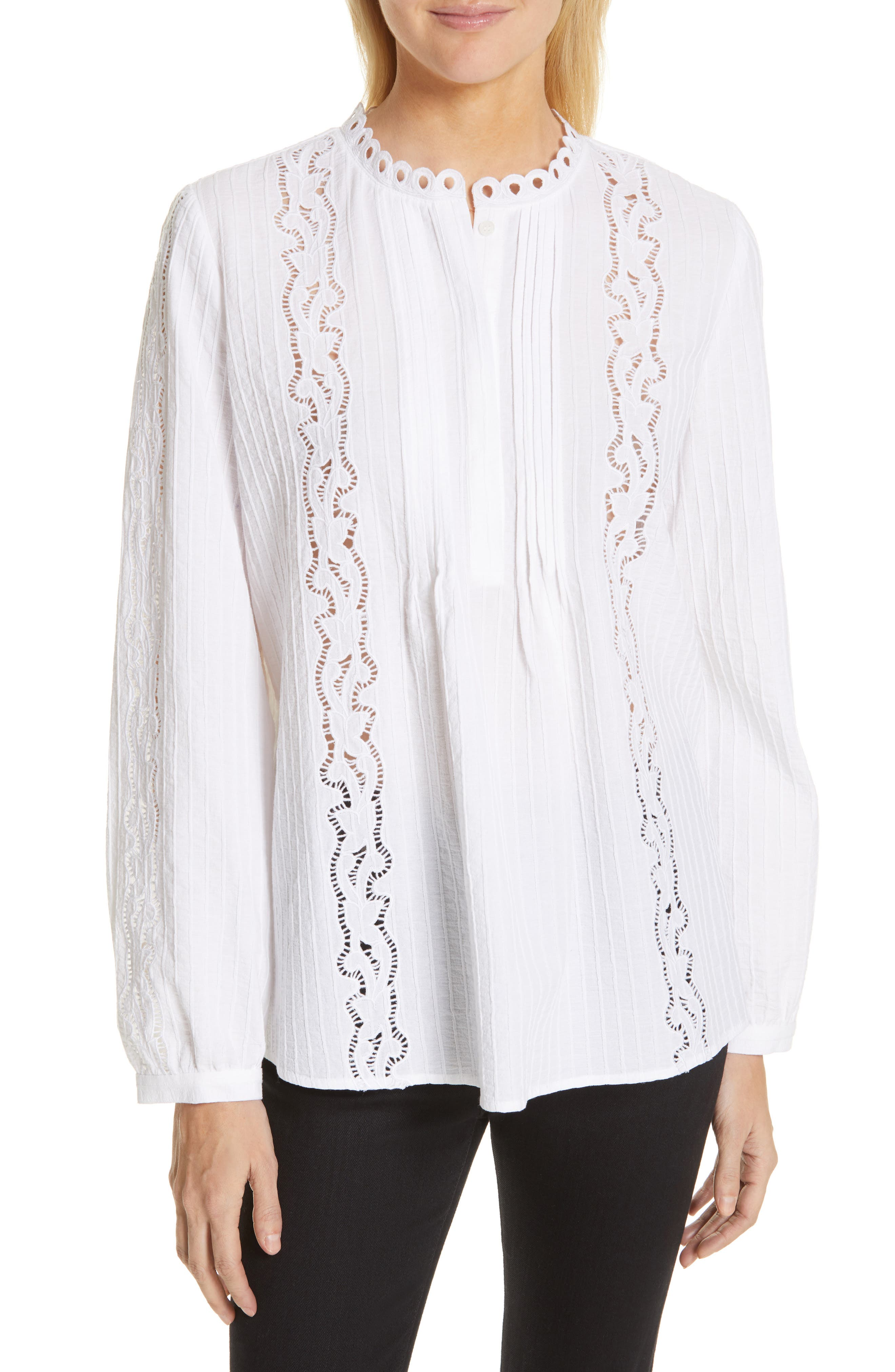 ,                             Embroidered Pleated Blouse,                             Main thumbnail 1, color,                             WHITE