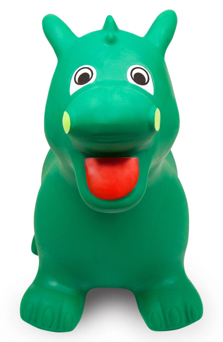 WADDLE Dragon Bouncy Ride-On Toy, Main, color, GREEN