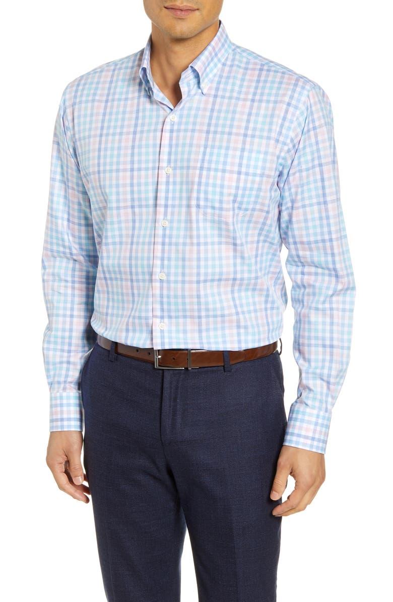 PETER MILLAR Vance Check Button-Down Shirt, Main, color, COTTAGE BLUE