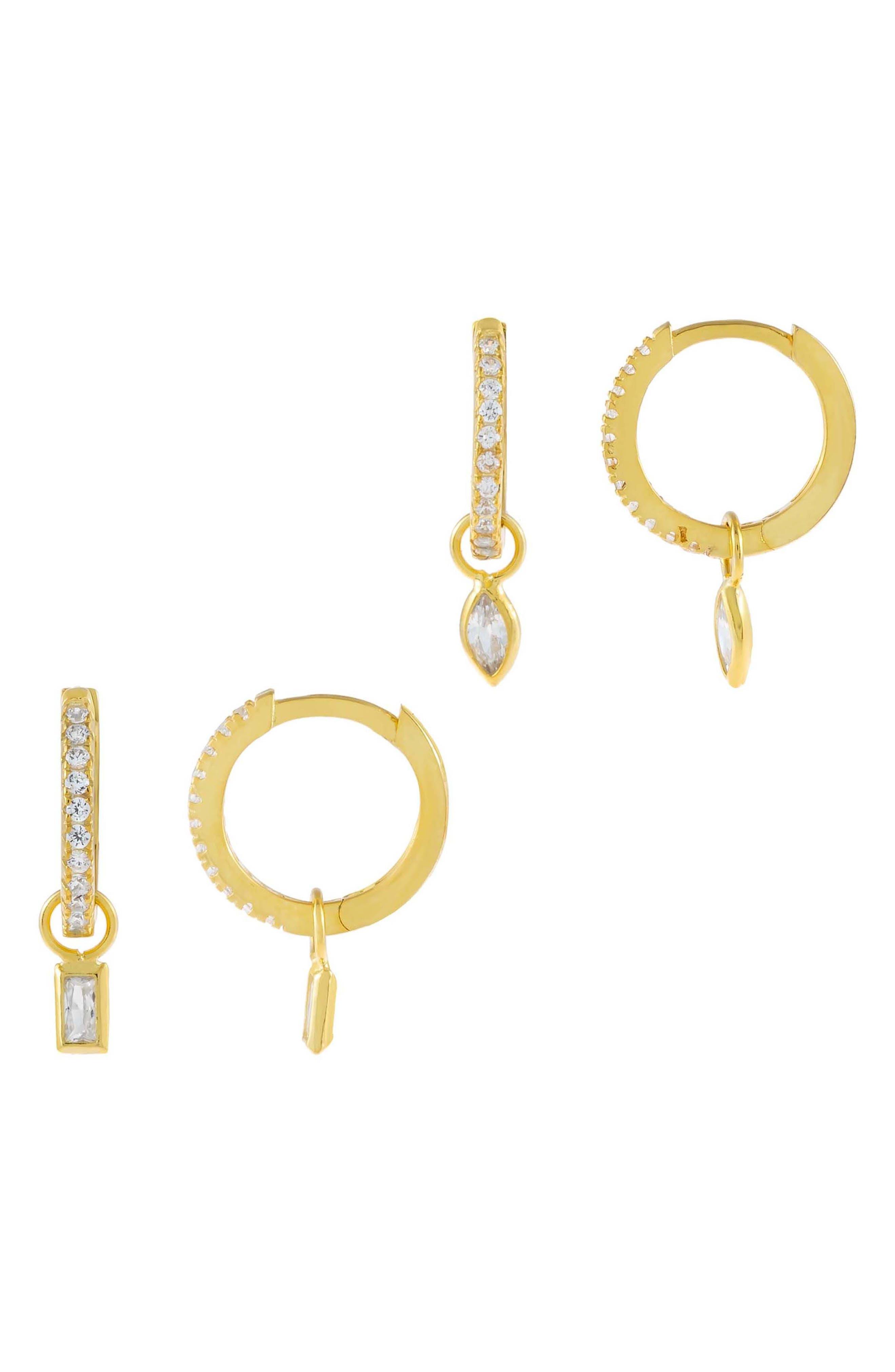 Women's Adina's Jewels Set Of 2 Teardrop & Baguette Drop Huggie Hoop Earrings Set