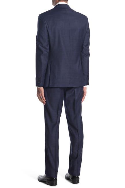 Image of Calvin Klein Blue Plaid Two Button Notch Lapel Wool Suit