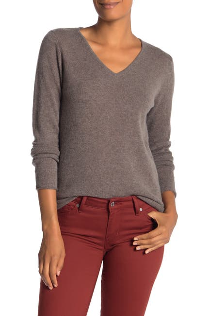 Image of M Magaschoni Solid V-Neck Cashmere Pullover Sweater