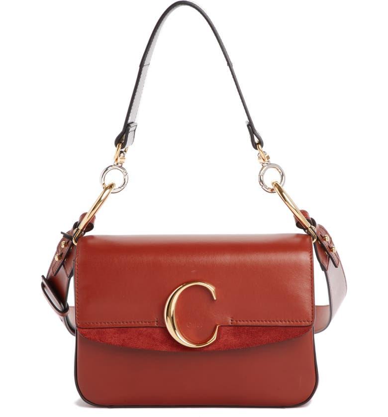 CHLOÉ Leather Shoulder Bag, Main, color, SEPIA BROWN