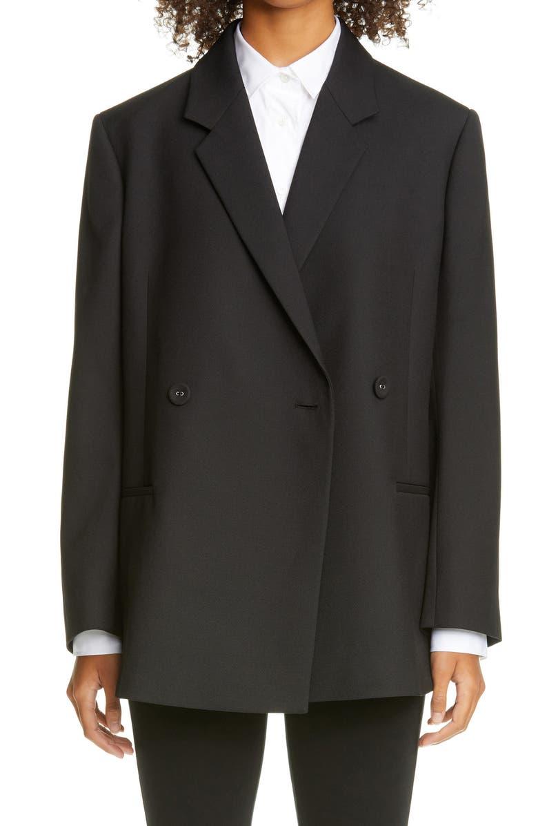 TOTÊME Loreo Oversize Double Breasted Blazer, Main, color, BLACK