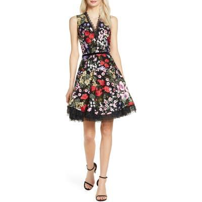 Bronx And Banco Alicia Floral Minidress, Black