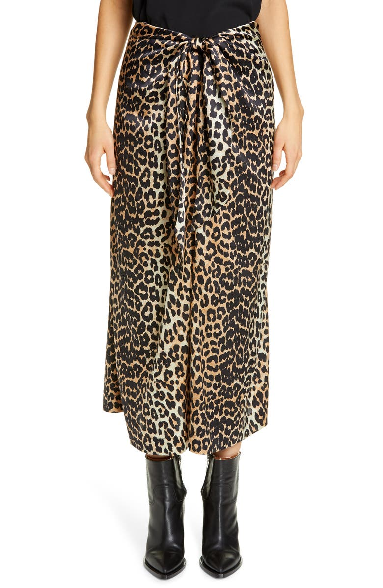GANNI Leopard Print Silk Satin Midi Skirt, Main, color, LEOPARD