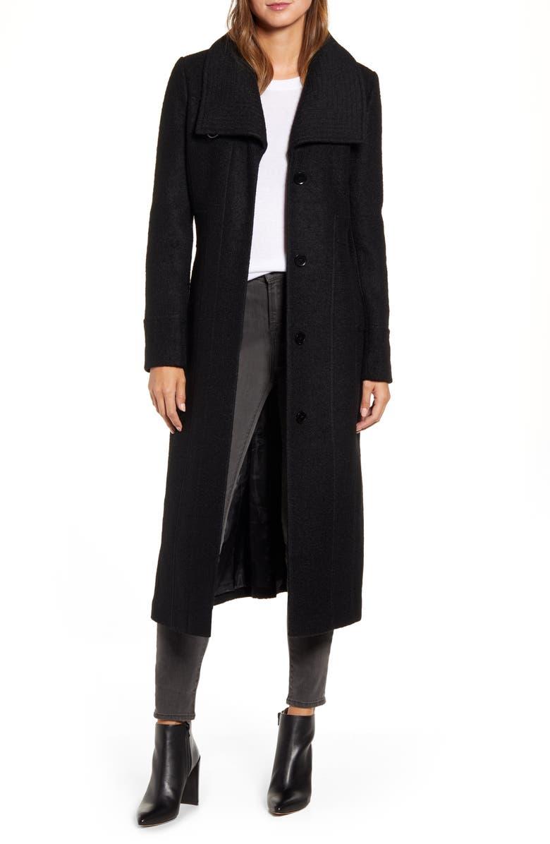 KENNETH COLE NEW YORK Bouclé Maxi Coat, Main, color, BLACK