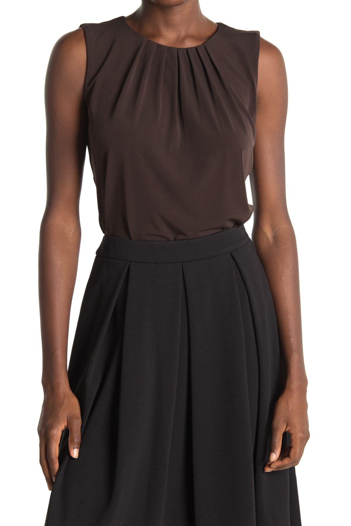 Image of Calvin Klein Solid Pleated Neck Tank Top