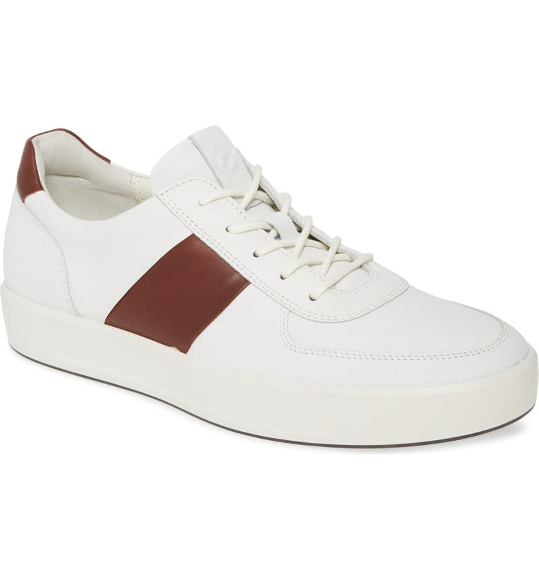 ECCO Soft 8 Sneaker, Main, color, WHITE/ RUST LEATHER