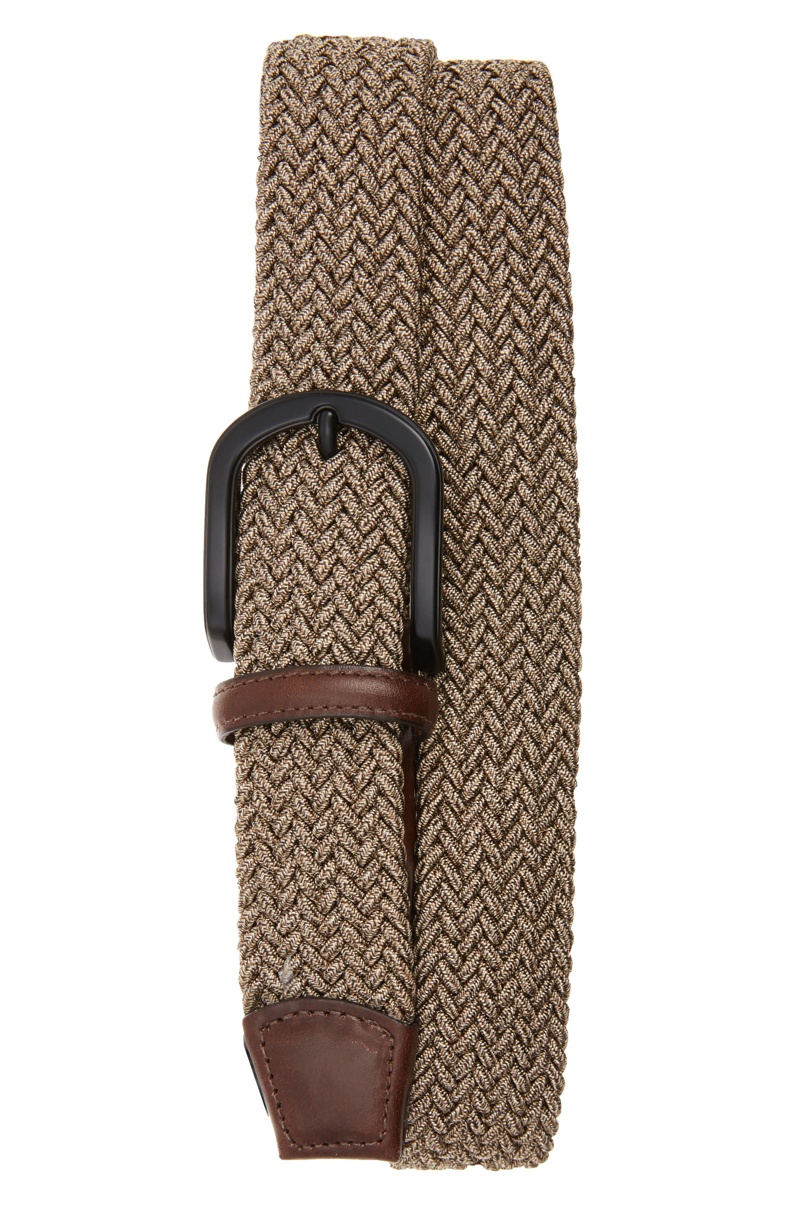 A curvy matte horseshoe buckle secures a tightly woven stretch belt made from cool melange yarns. Style Name: Torino Braided Melange Belts. Style Number: 5473489. Available in stores.