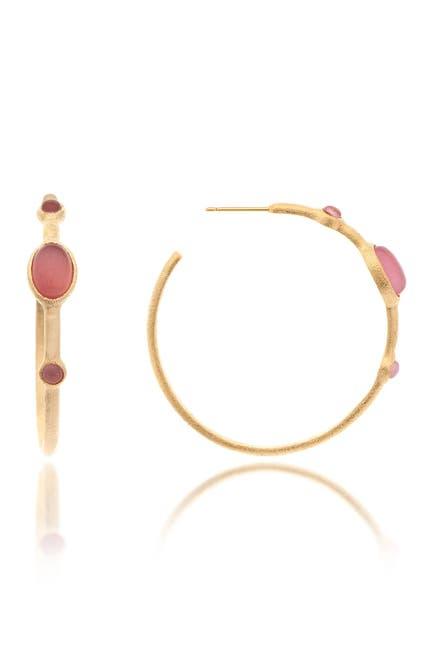 Image of Rivka Friedman 18K Gold Clad Triple Bezel Set Raspberry & Orange Cat's Eye Crystal 38mm Hoop Earrings