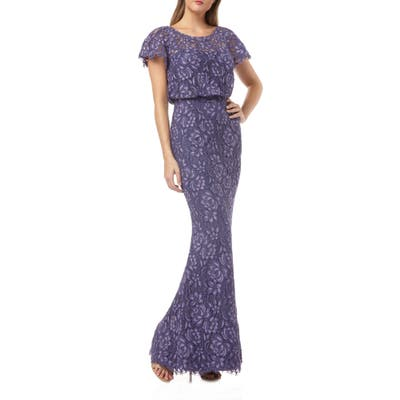 Js Collections Embroidered Lace Blouson Mermaid Evening Gown, Purple