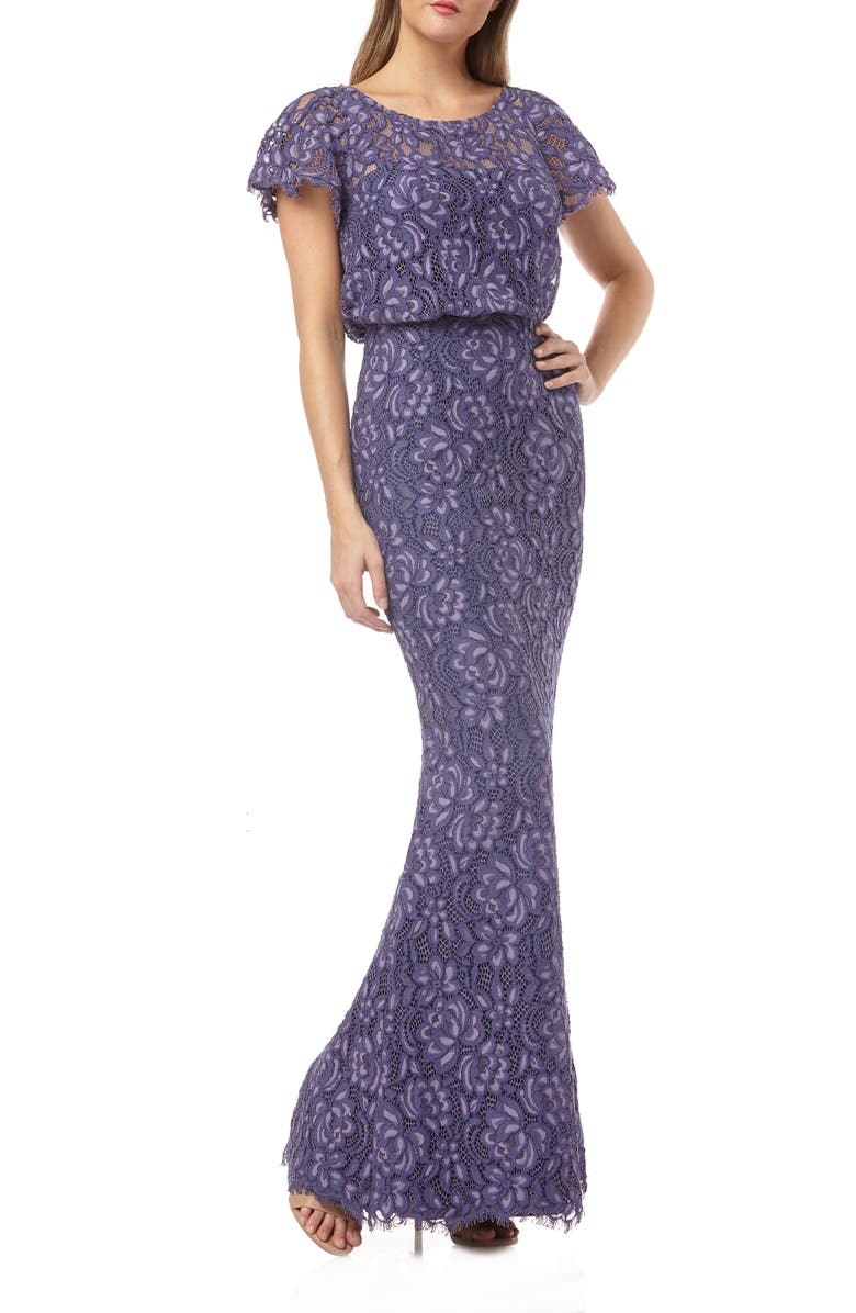 JS COLLECTIONS Embroidered Lace Blouson Mermaid Evening Gown, Main, color, PERIWINKLE VIOLET