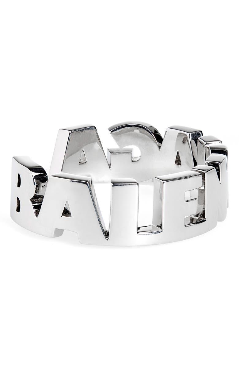 BALENCIAGA Typo Cuff Bracelet, Main, color, VIBRATED PALLADIUM