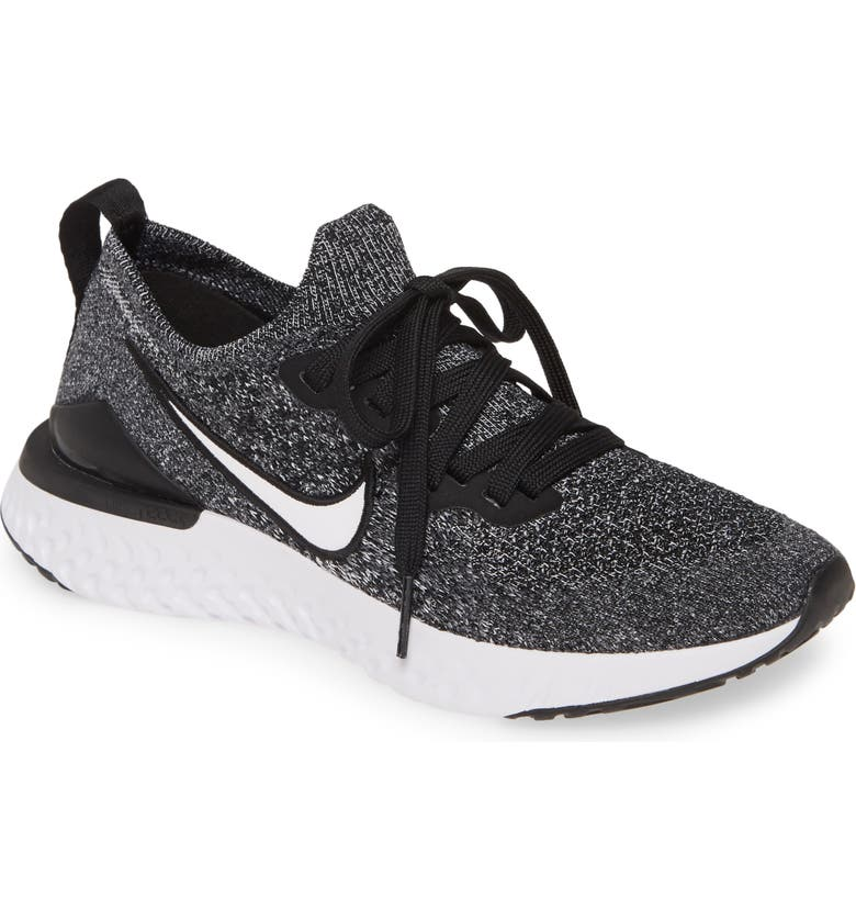 NIKE Epic React Flyknit 2 Running Shoe, Main, color, BLACK/ WHITE/ WHITE