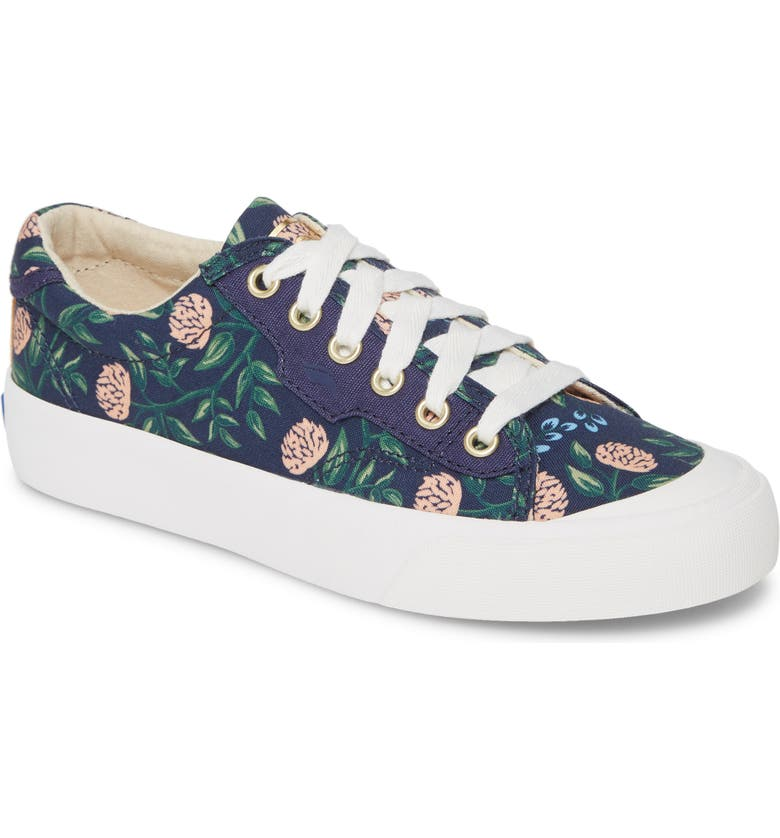 KEDS<SUP>®</SUP> x Rifle Paper Co. Crew Kick 75 Sneaker, Main, color, NAVY MULTI CANVAS