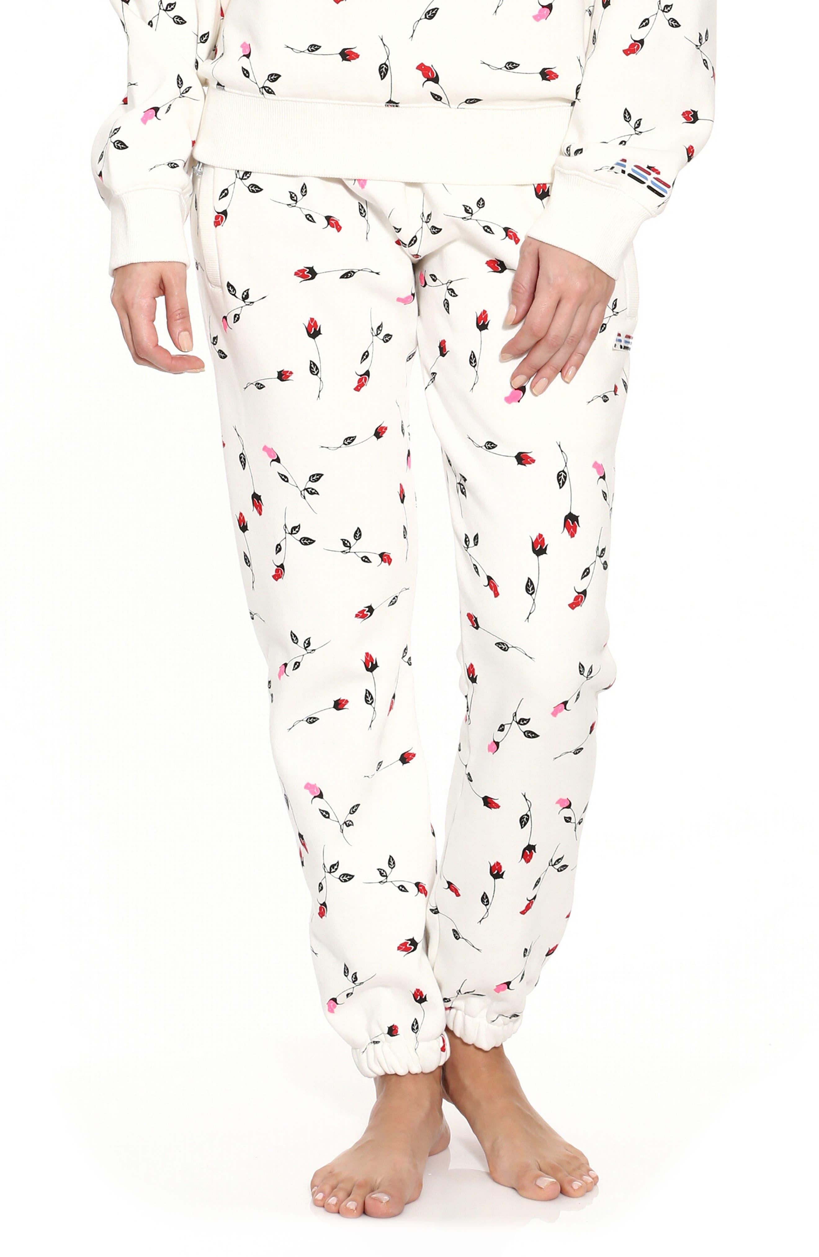 Adam Selman Rose Print Unisex Sweatpants, White
