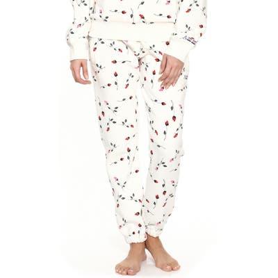 Adam Selman Sport Rose Print Unisex Sweatpants, White
