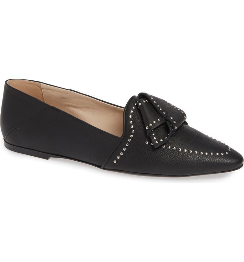 TOD'S Studded Bow Loafer, Main, color, BLACK
