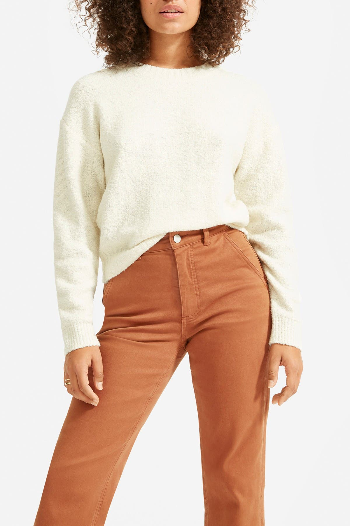 Image of EVERLANE The Teddy Wool Blend Crew Neck Sweater