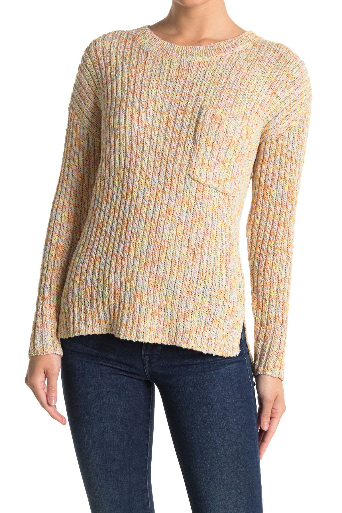 Image of Lush Multi Stripe Print Knit Sweater