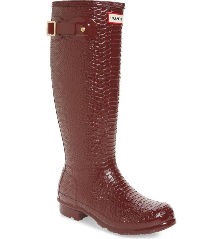 HUNTER Perfect Pairs Original Tall Waterproof Rain Boot, Main, color, RED