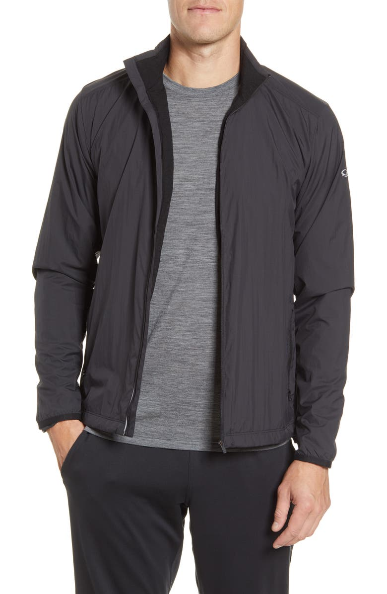 ICEBREAKER Cool-Lite<sup>™</sup> Incline Windbreaker Jacket, Main, color, BLACK/ BLACK