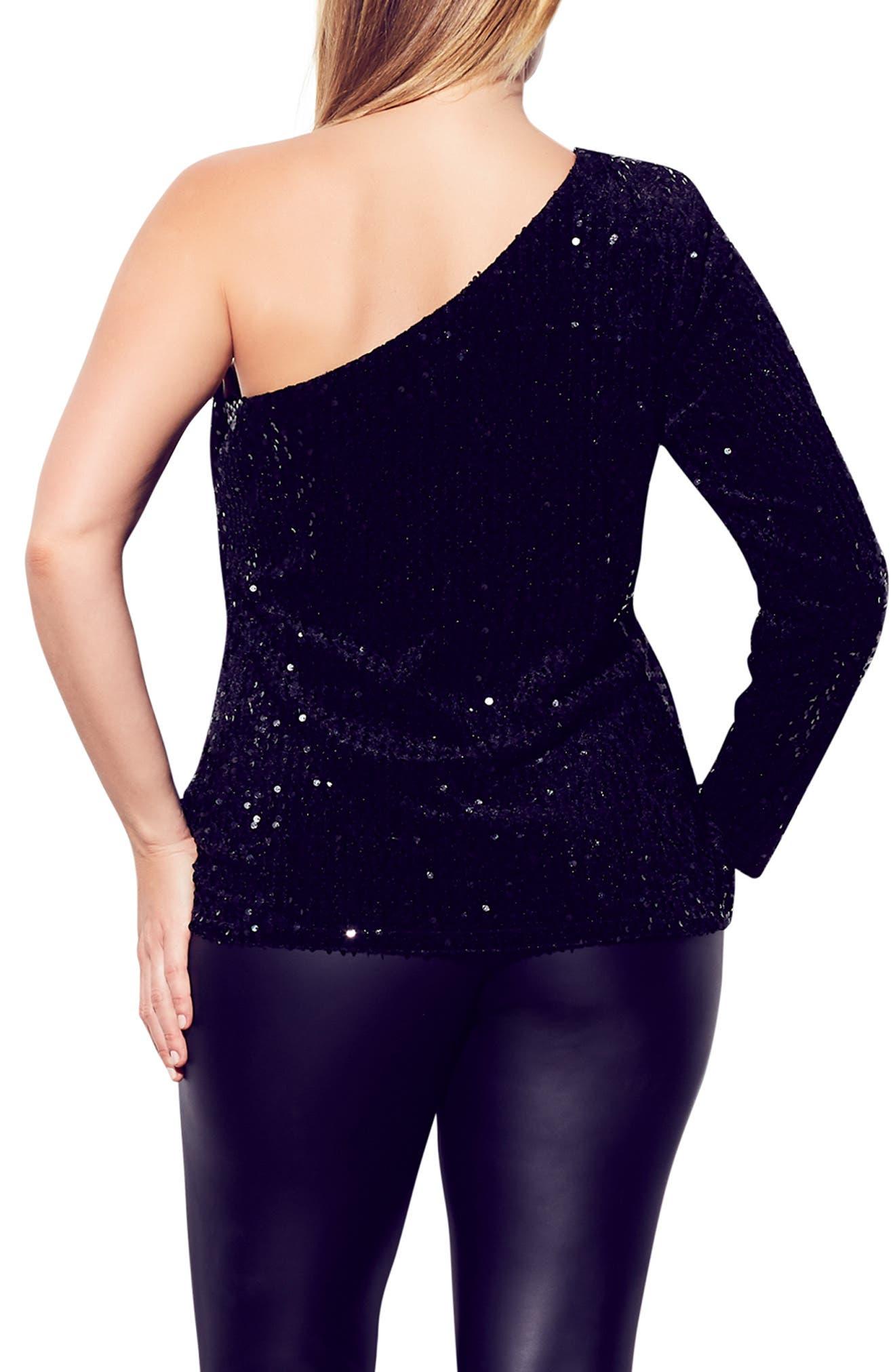 ,                             Disco Fever One-Shoulder Sequin Top,                             Alternate thumbnail 2, color,                             BLACK