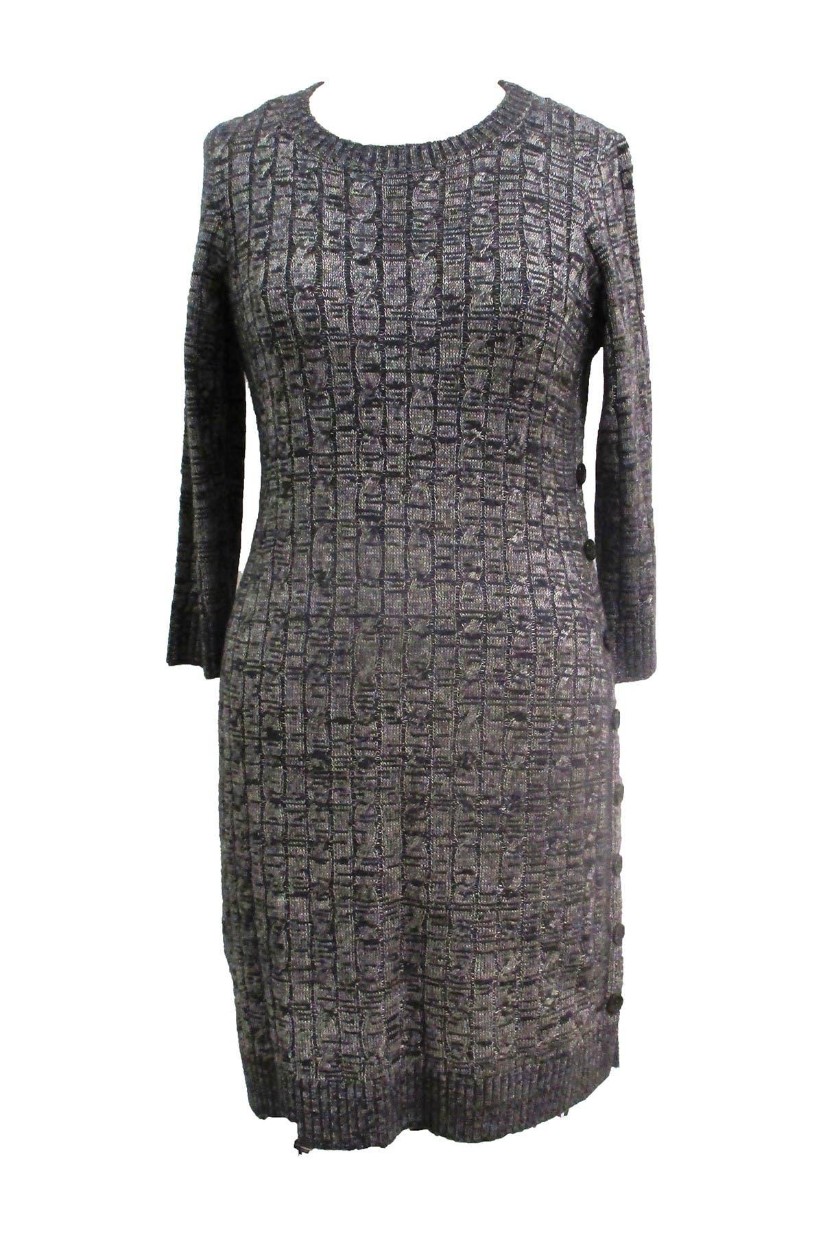 Image of Sandra Darren Scoop Neck 3/4 Sleeve Sweater Dress