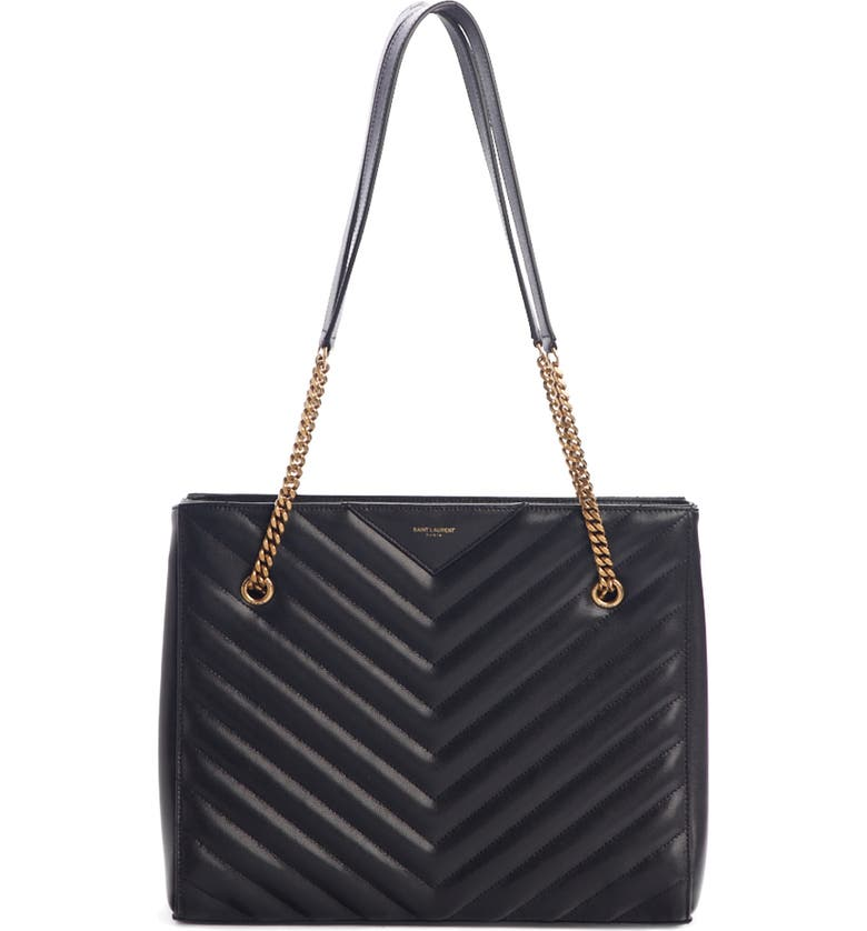 SAINT LAURENT Medium Tribeca Quilted Calfskin Leather Tote, Main, color, NOIR
