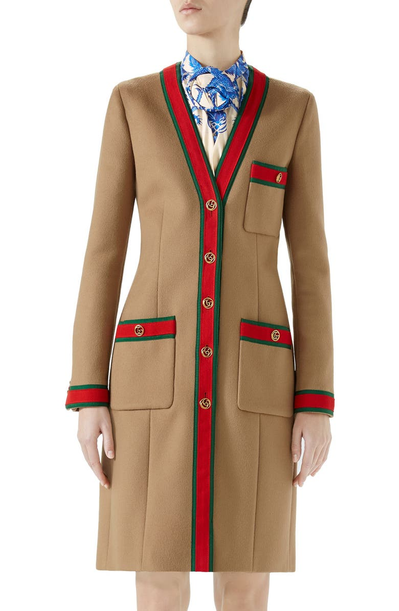 GUCCI Wool Stripe Trim Coat, Main, color, CAMEL