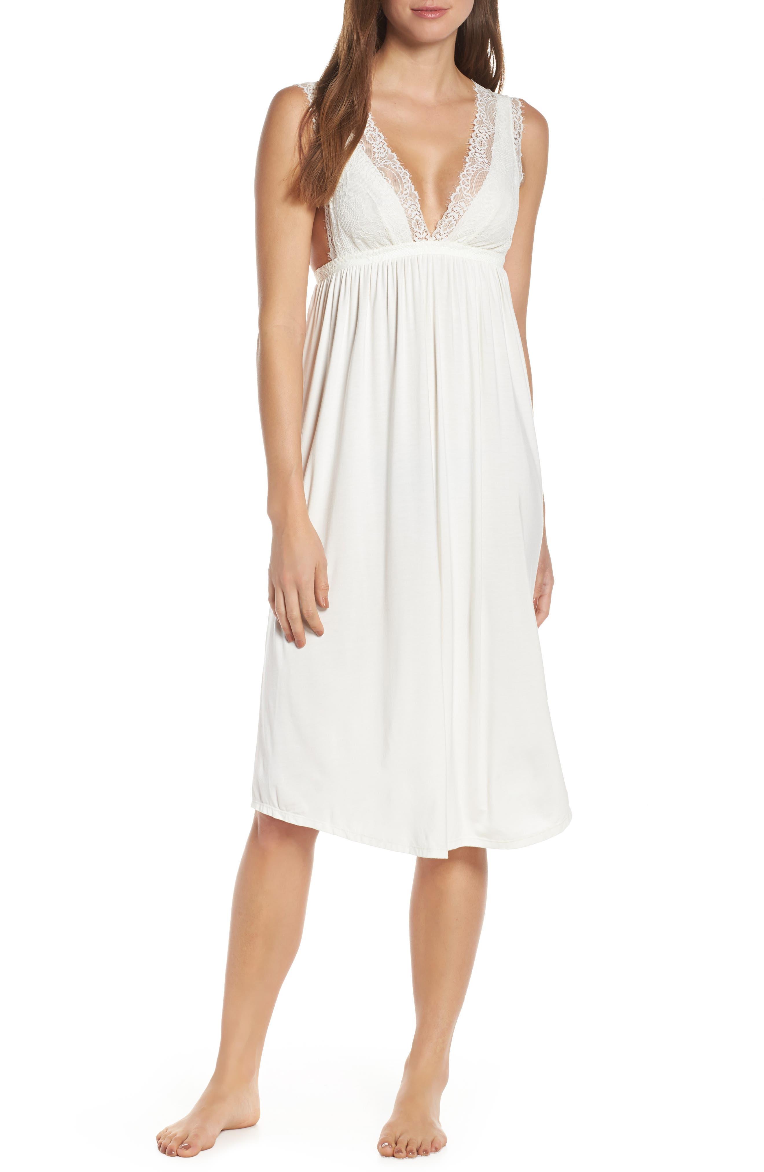 Eberjey Sara Grand Nightgown, Ivory