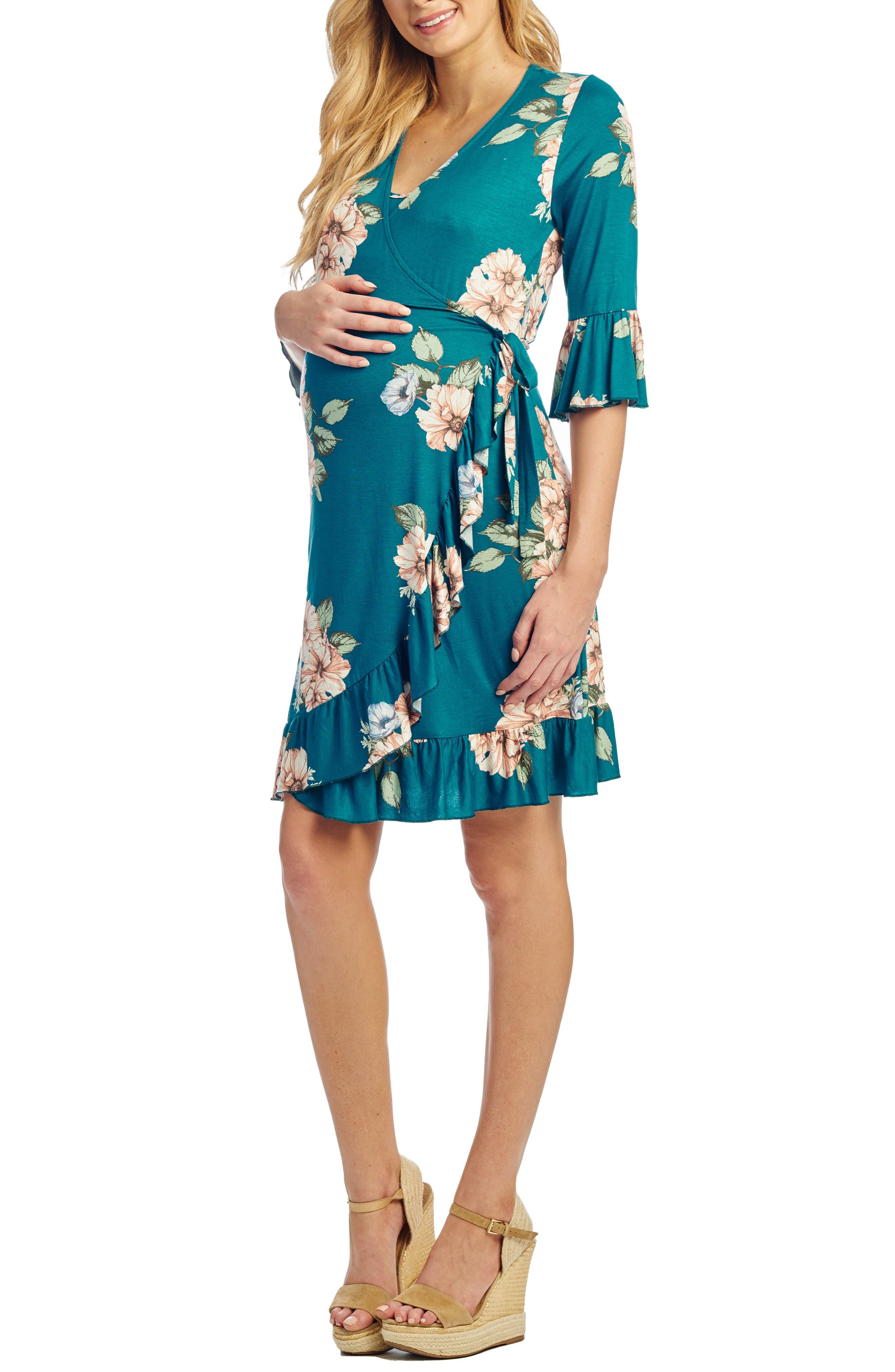 Everly Grey Leilani Maternity/nursing Wrap Dress, Blue/green